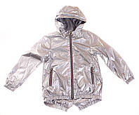 Стильна вітровка срібло для дівчинки, з капюшоном, р 122,128,134,140,146
