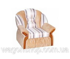 Кресло Вест тм Алис-мебель Бежевый с полосатым белым