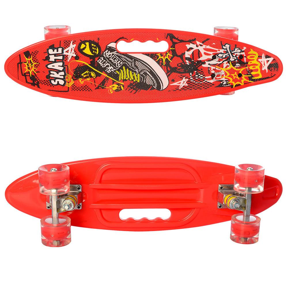Скейт (пенні борд) Penny board (світяться колеса) ЧЕРВОНИЙ арт. 0461-2