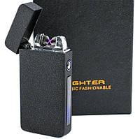 Электродуговая плазменная зажигалка, ZGP 19 Черная Матовая (4579) аккумуляторная импульсная от USB (TI), фото 1