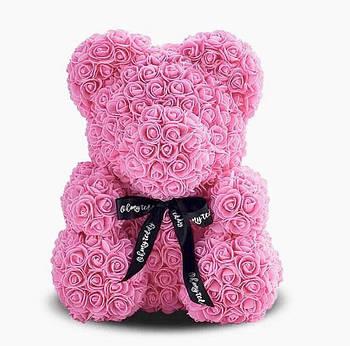 Мишка из роз Bear Flowers 25 см розовый