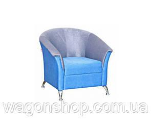 Кресло Комби 1 тм Алис-мебель Голубой с белым