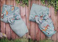 Конверт  - плед на выписку и для прогулок  двусторонний для новорожденных, фото 1