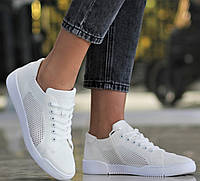 Кеды женские летние кроссовки сетка лето текстильные легкие удобные повседневные белые 37 размер Restime 21835