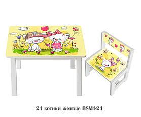 Дитячий стіл і укріплений стілець BSM1-24 Yellow kitties - жовті Котитки