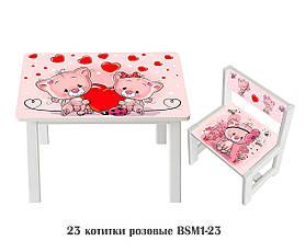 Дитячий стіл і укріплений стілець BSM1-23 Pink kitties - Котитки рожеві