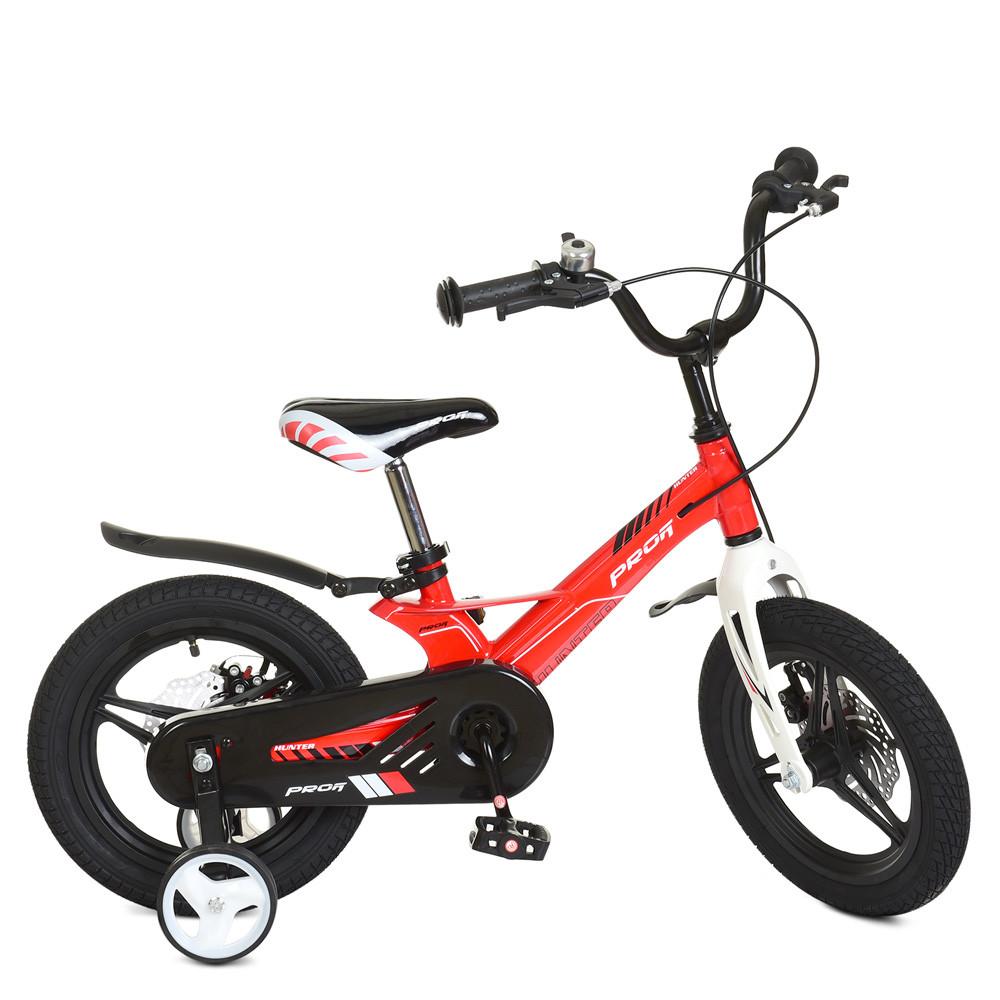 Велосипед дитячий 14д.LMG14233 Hunter,магнез.рама,вилка,кол.,диск.гальмівний.,червоний,дзвінок,д