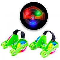 """Ролики четырехколесные на обувь (на пятку) """"Flashing roller"""" (green) съемные пяточные ролики (TI)"""