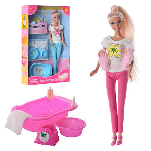 Кукла DEFA 8213  29см,2-ое детей(4см),ванночка,горшок,миска,2 цвета, в кор-ке, 32,5-20,5-6см
