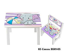 Дитячий стіл і укріплений стілець BSM1-05 elephant - слоник