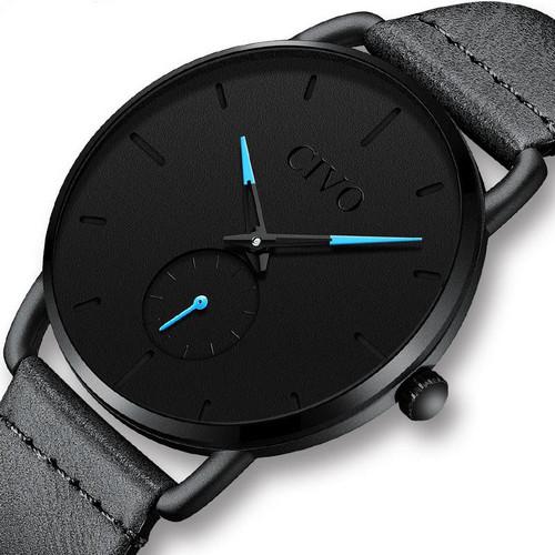 Чоловічі наручні годинники мінімалізм Chronte Bruce Black-Light Blue