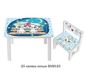 Дитячий стіл і укріплений стілець BSM1-25 Cats at night - Котики вночі