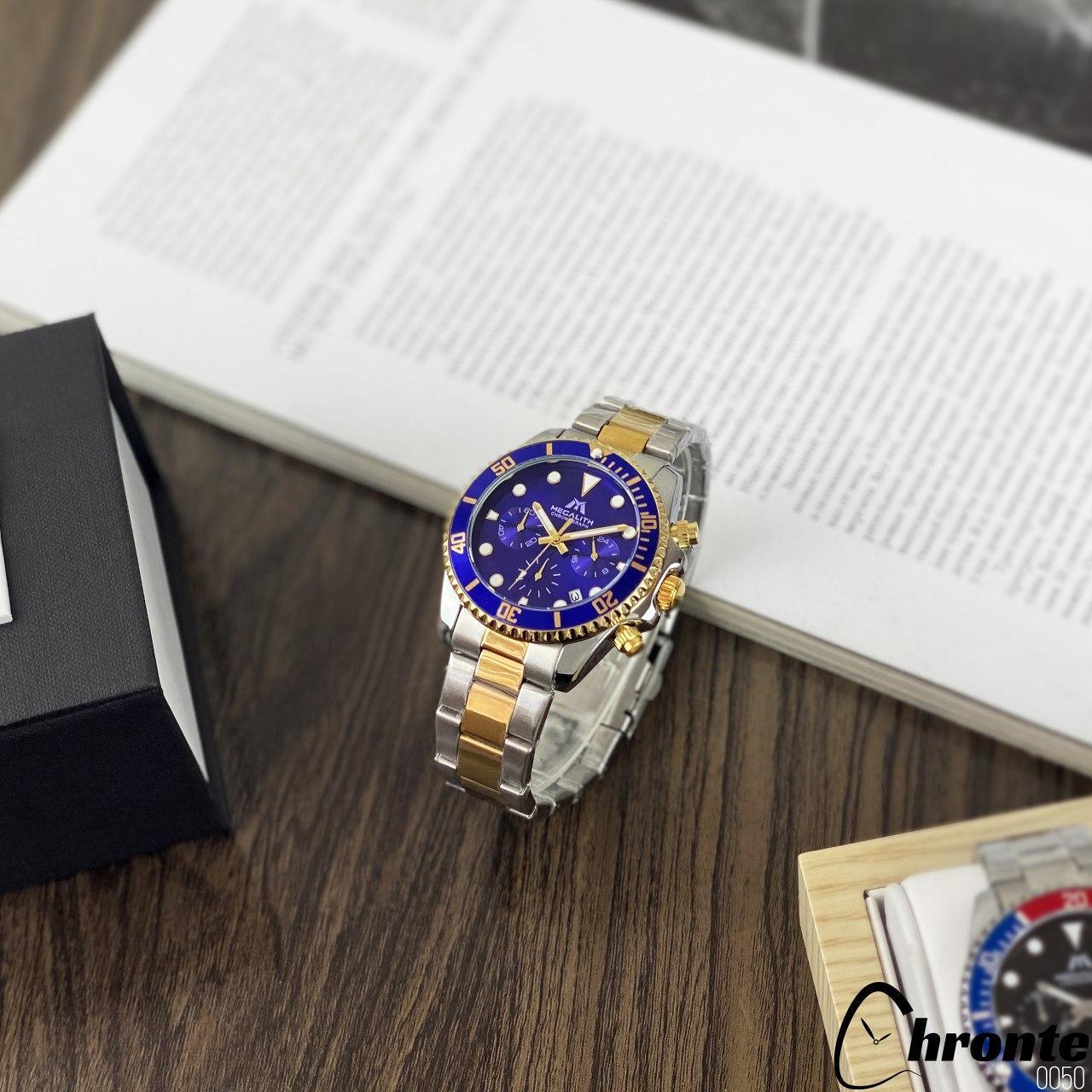 Чоловічі наручні годинники Chronte Nicolas Silver-Gold-Blue