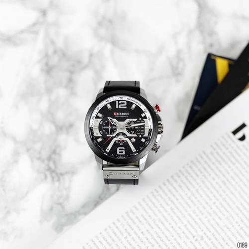 Часы наручные мужские Curren 8329 Black-Silver с хронографом