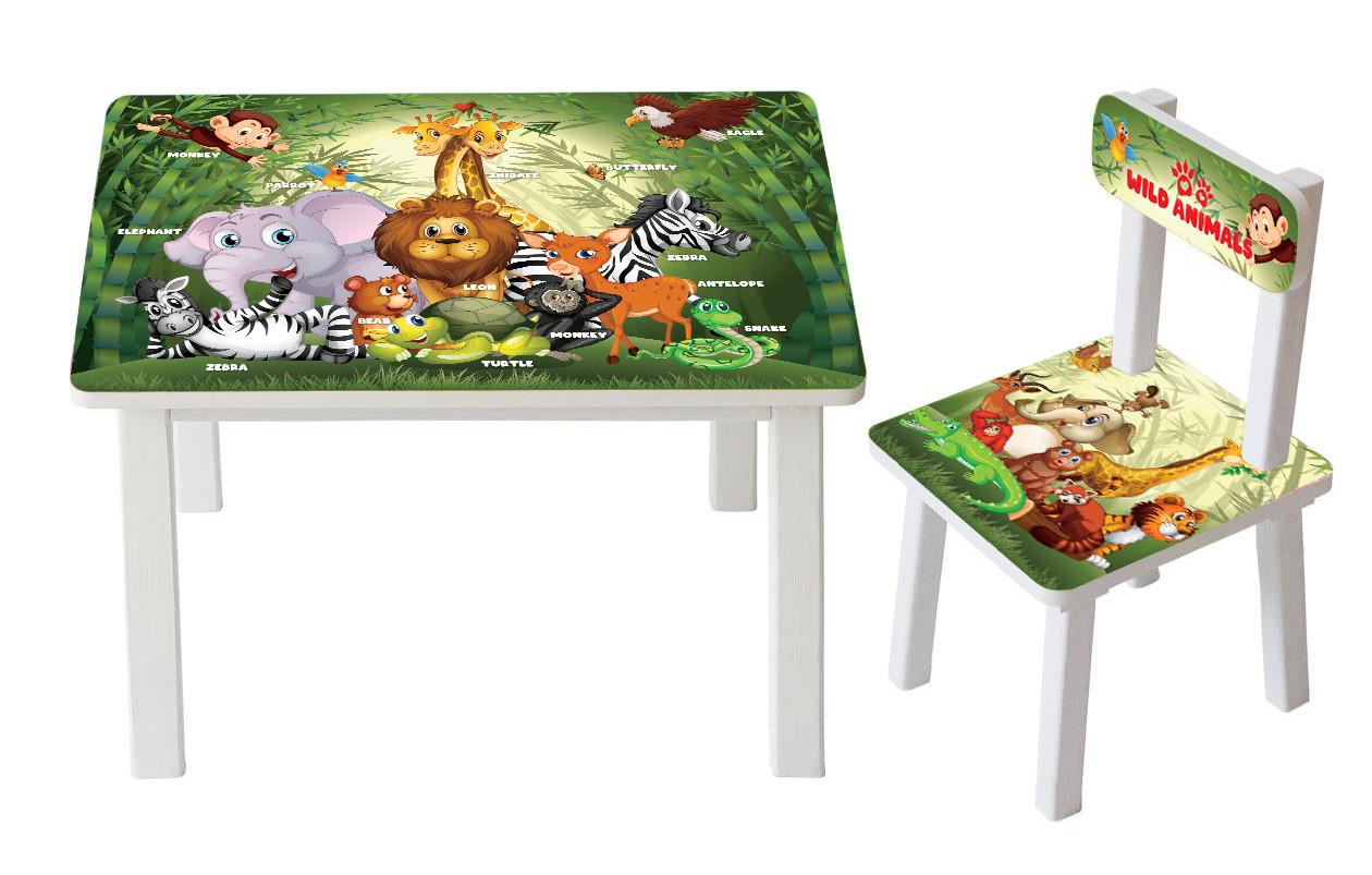 Детский стол и стул Дикие Животные BSM2K-80