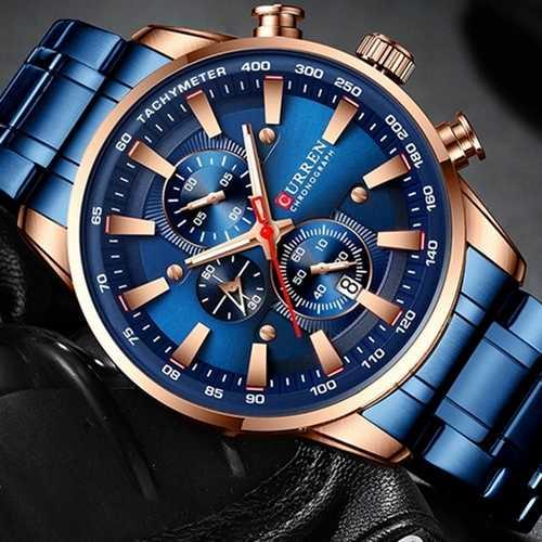 Наручні чоловічі годинники сині Curren 8351 Blue-Cuprum