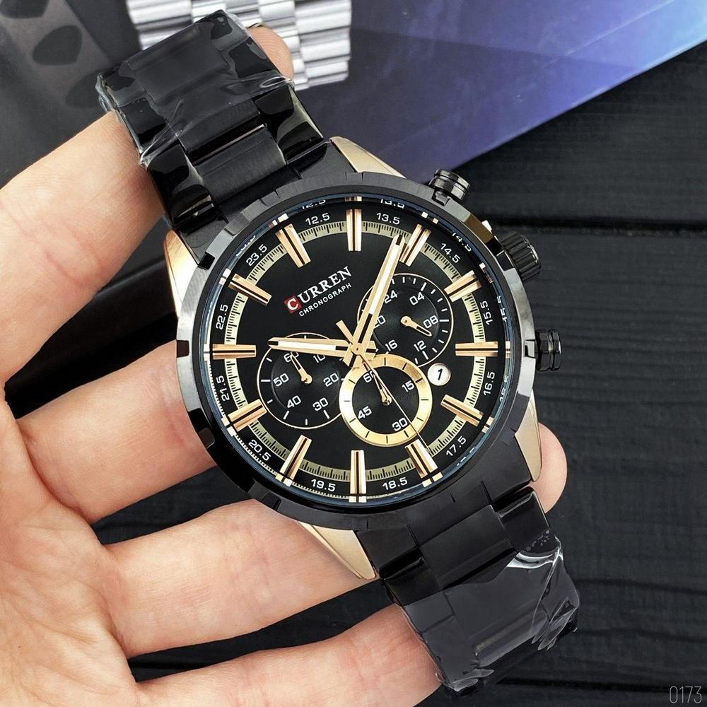Часы наручные мужские Curren 8355 Black -Cuprum с хронографом