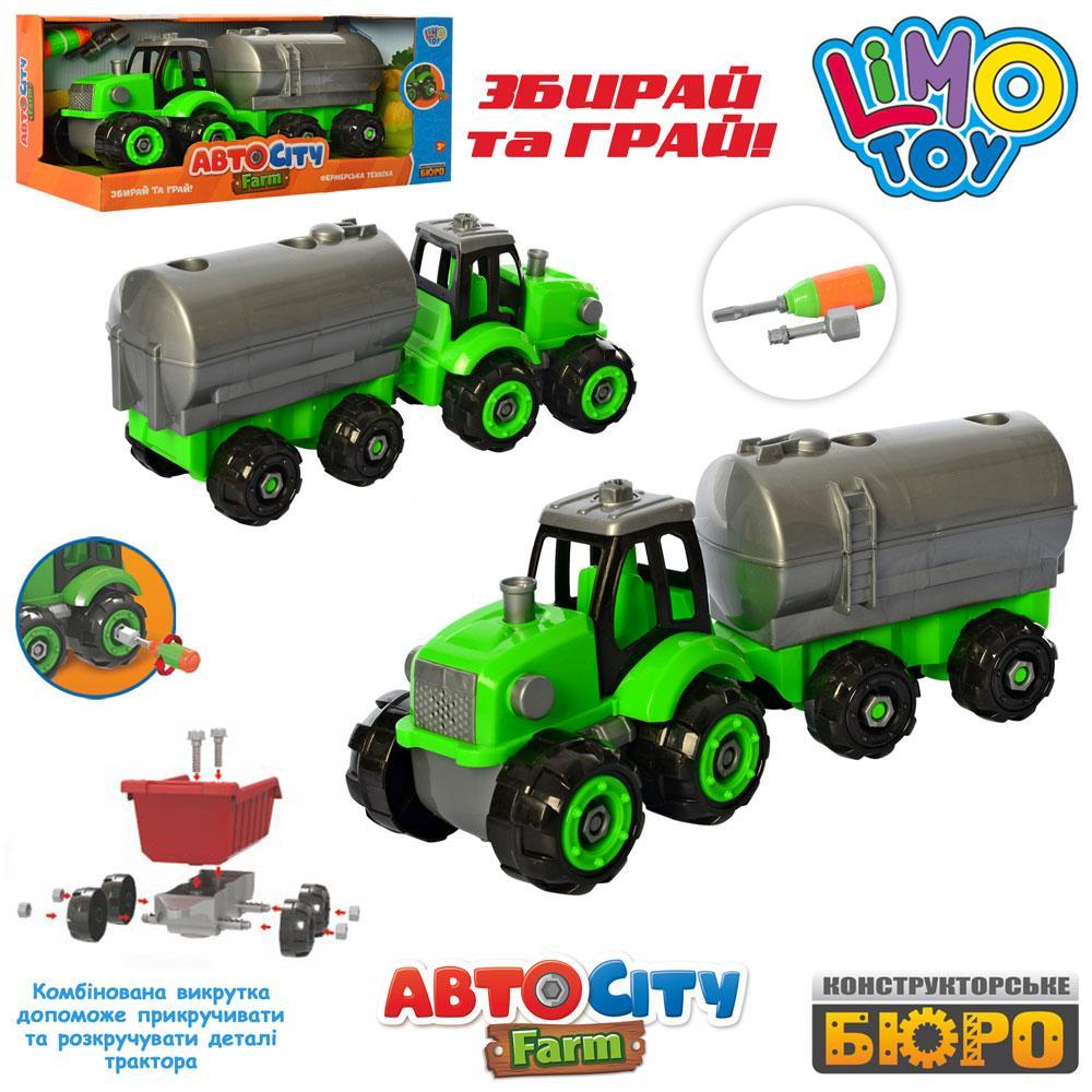Конструктор KB 061  на шурупах, трактор32см, отвертка, в кор-ке, 38-17-12,5см