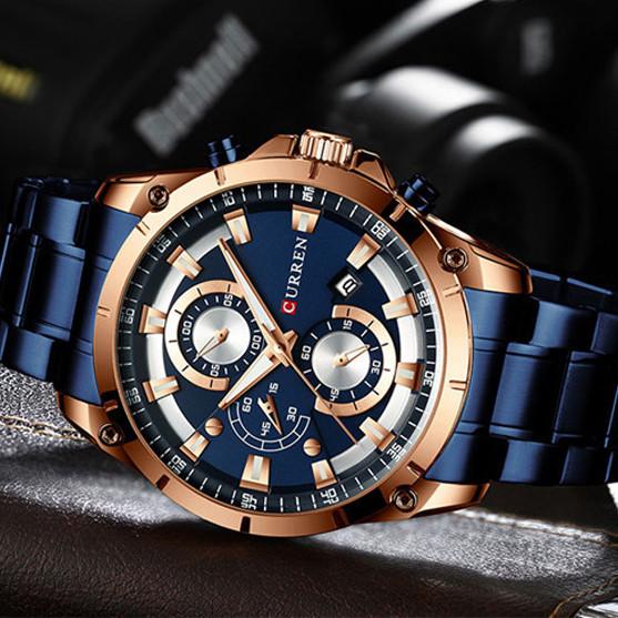 Чоловічі годинники з хронографом Curren 8360 Blue-Gold сині наручні