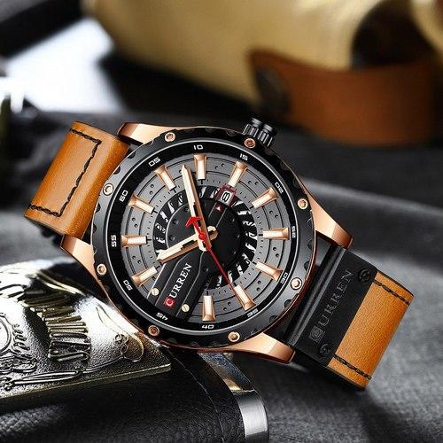 Чоловічий наручний годинник, кварцові Curren 8374 Brown-Cuprum-Black