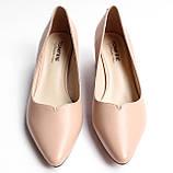 Жіночі бежеві туфлі шкіряні, фото 2