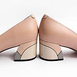 Жіночі бежеві шкіряні туфлі, фото 3