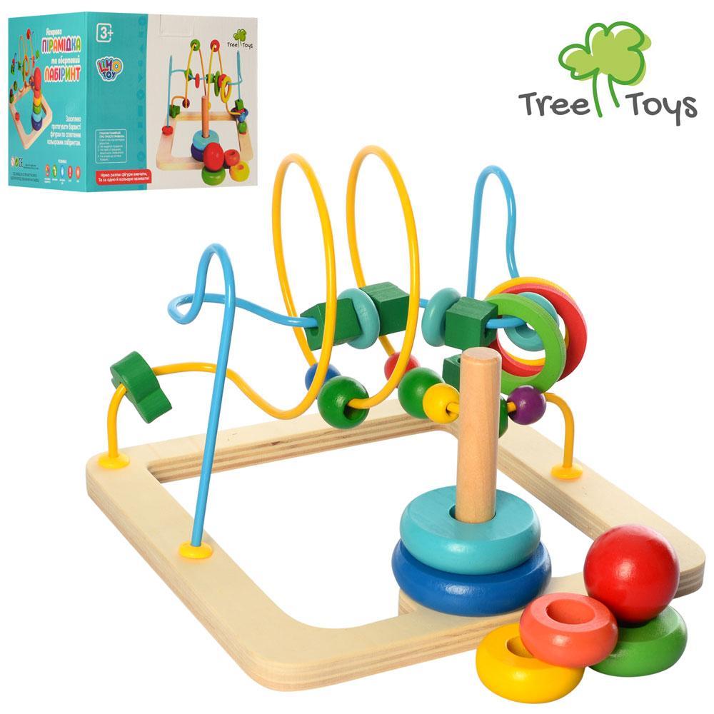 Деревянная игрушка Лабиринт MD 2475  на проволоке, пирамидка,в кор-ке,20,5-20,5-16см