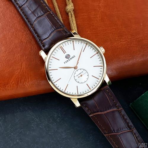 Стильні чоловічі годинники Forsining 1164 Gold-White-Brown наручні, механіка