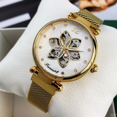Жіночі наручні годинники Forsining 1171 Gold-White, механіка
