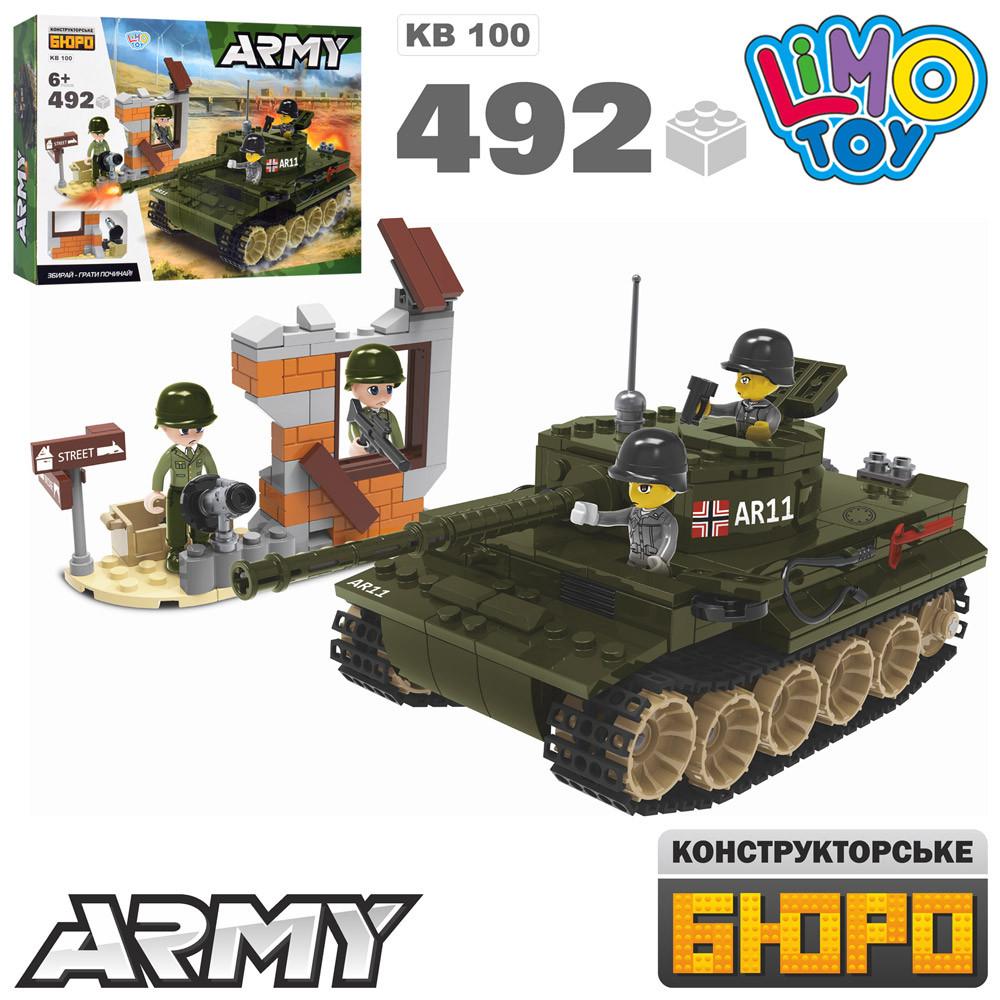 Конструктор KB 100 танк, споруда, фігурки, 492дет, в кор-ке, 45-33-7см