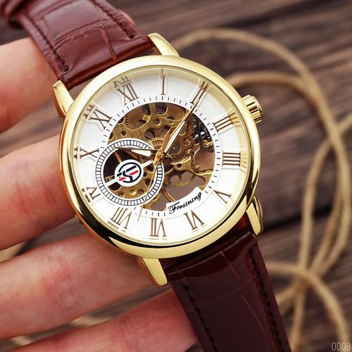Наручний годинник Forsining 8099 Brown-Gold-White чоловіча механіка
