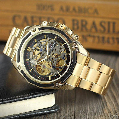 Наручные часы Forsining 8130 Gold-Black мужские, механические