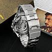 Серебреные механические часы Forsining 8130 Silver-Black мужские скелетоны, фото 2