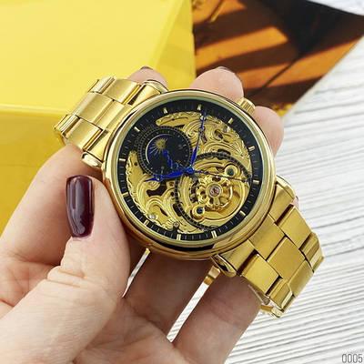 Мужские механические часы Forsining 8177 Gold-Black золотые