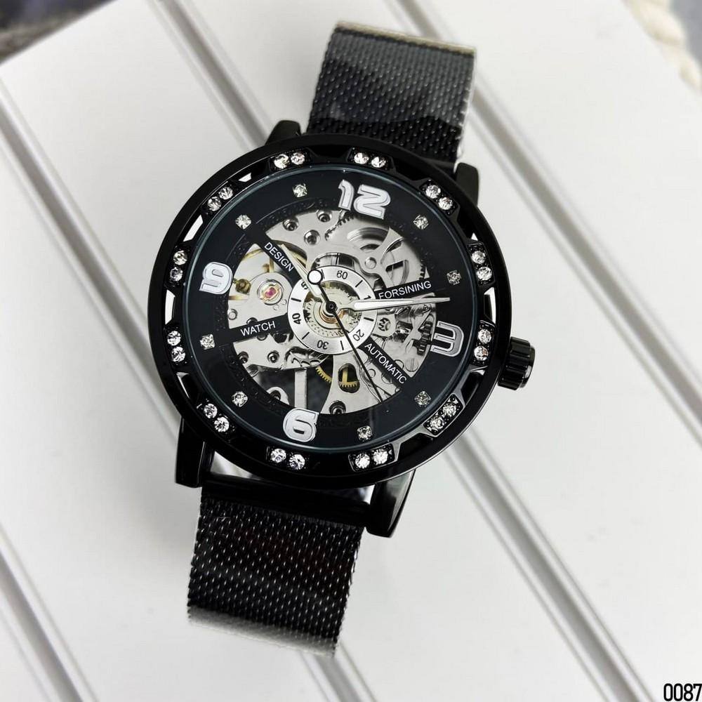 Жіночі механічні наручні годинники Forsining GMT1201 Black-Silver