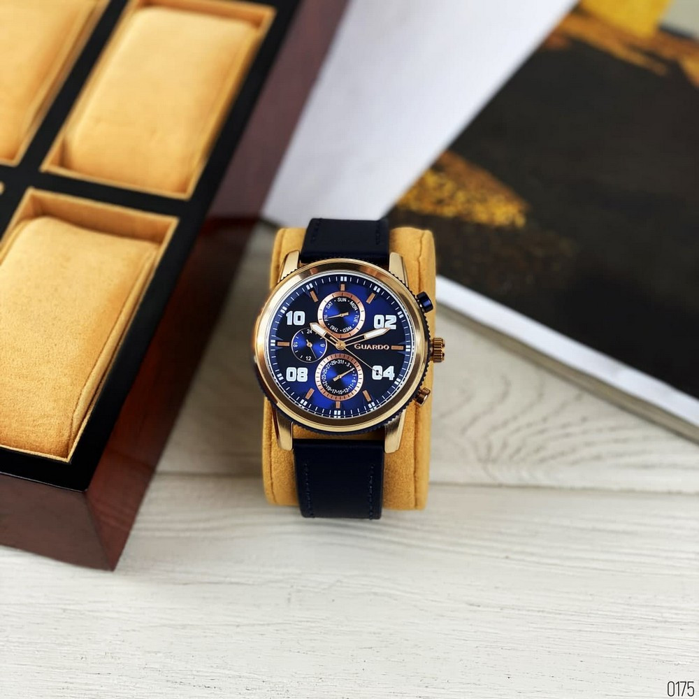 Наручні чоловічі годинники Guardo 011097-4 Blue-Cuprum