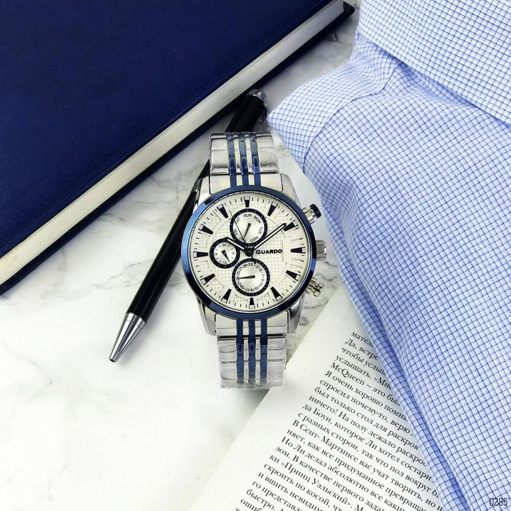 Сріблясті чоловічі наручні годинники Guardo 011653-2 Silver-Blue-White