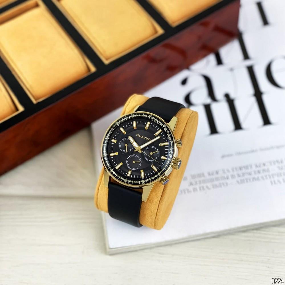 Чоловічі чорні годинник Guardo 012287-4 Black-Gold