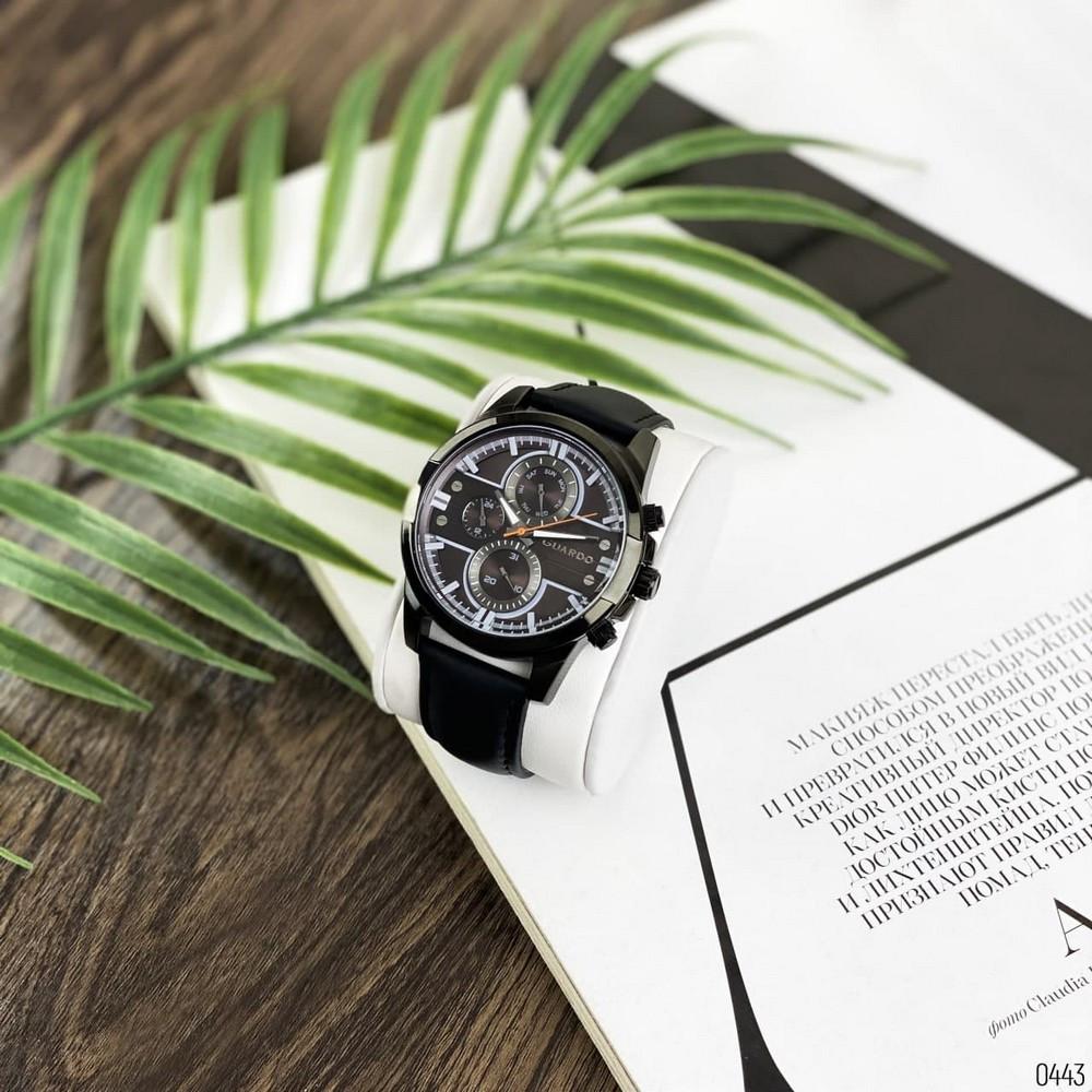 Якісні чоловічі наручні годинники Guardo 012313-5 All Black