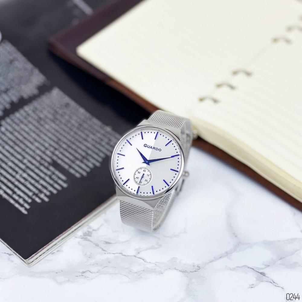Чоловічі наручні годинники срібні Guardo 012473-(2)-2 Silver-White-Blue