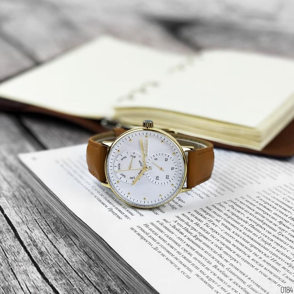 Чоловічі наручні годинники в стилі мінімалізму Guardo 012522-3 Brown-Gold-White
