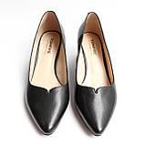Жіночі шкіряні чорні туфлі, фото 4