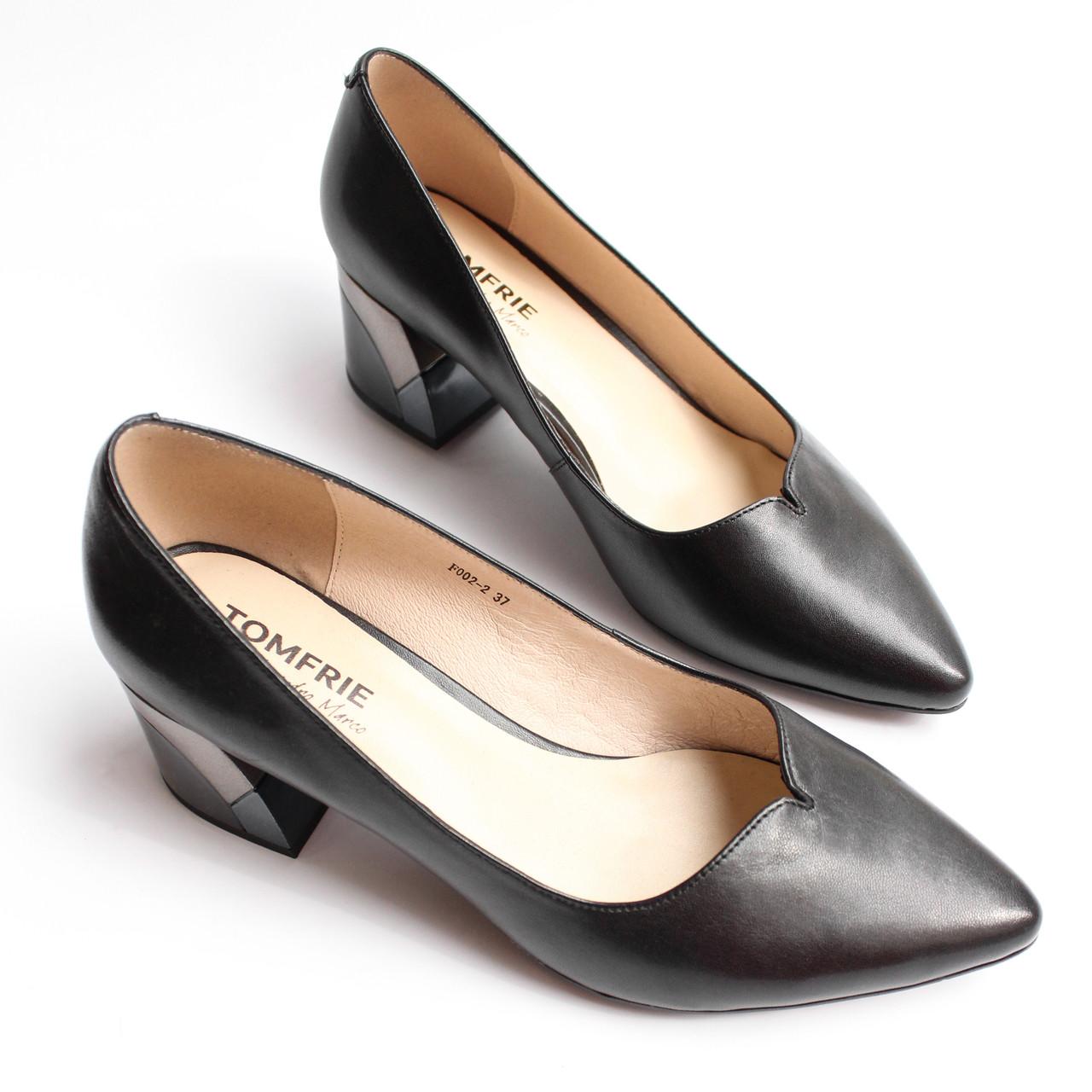 Жіночі шкіряні чорні туфлі