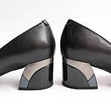 Жіночі шкіряні чорні туфлі, фото 3
