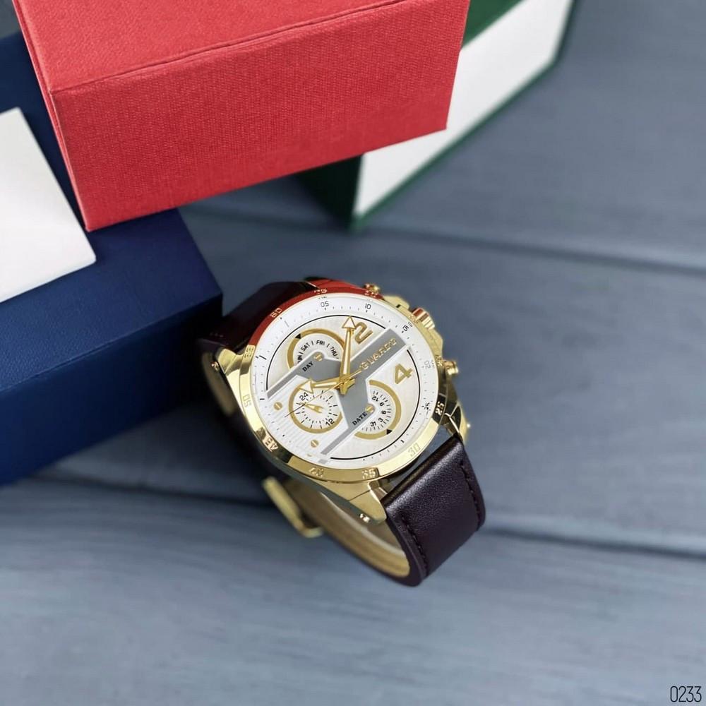Часы наручные мужские Guardo B01318-5 Dark  Brown-Gold-White