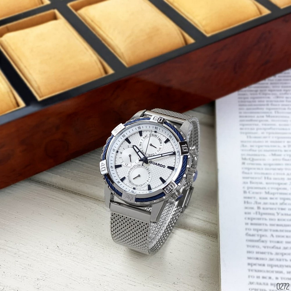 Часы наручные мужские Guardo B01352(2)-2 Silver-Blue-White серебреные