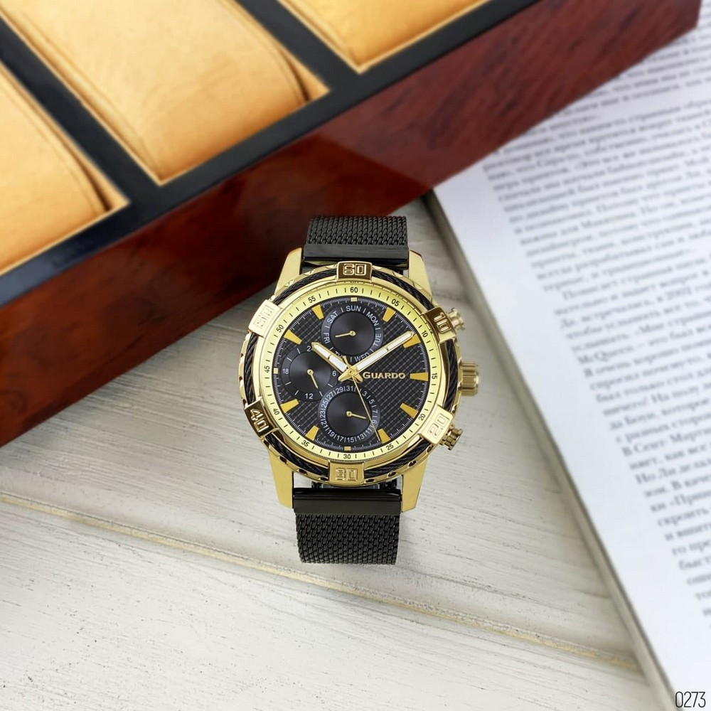 Часы наручные мужские Guardo B01352(2)-3 Black-Gold
