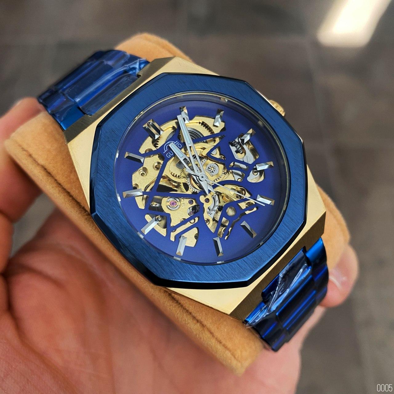 Часы наручные мужские Gusto Skeleton Blue-Gold механические с автоподзаводом