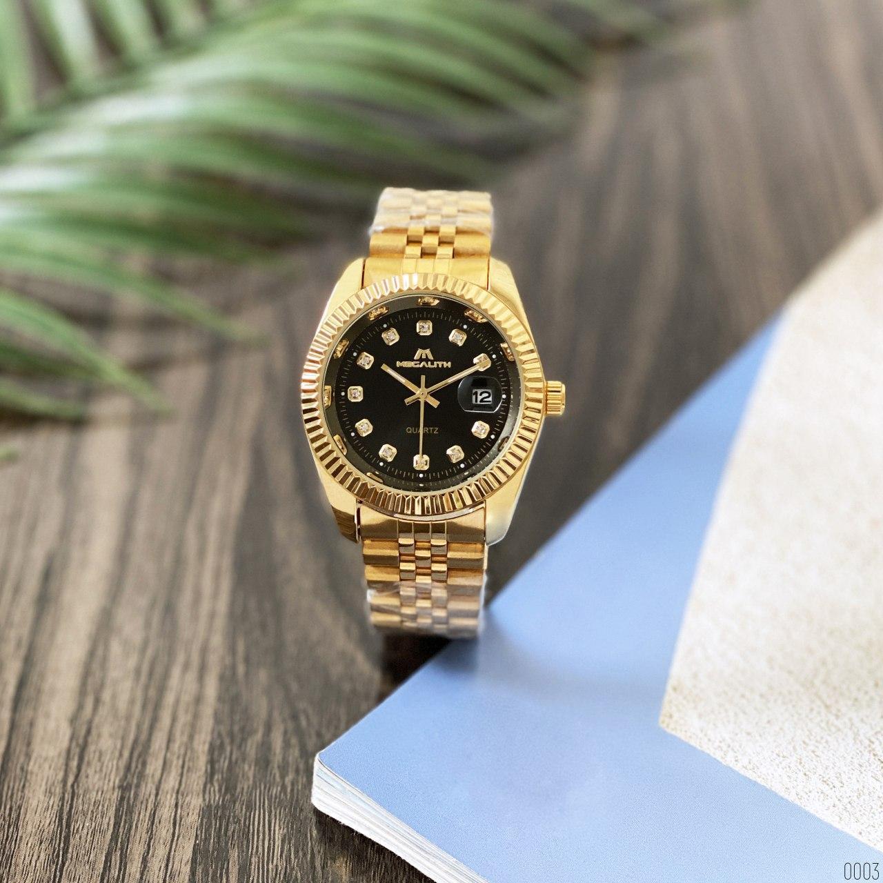 Часы наручные женские Megalith 0038M Gold-Black Diamonds золотые