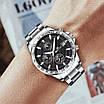 Посріблені чоловічі годинники Megalith 8033M Silver-Black кварцові, фото 3